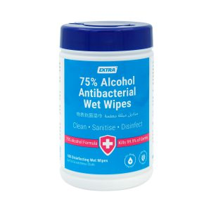 Extra Antibacterial 75 alcohol wet wipes 100s front