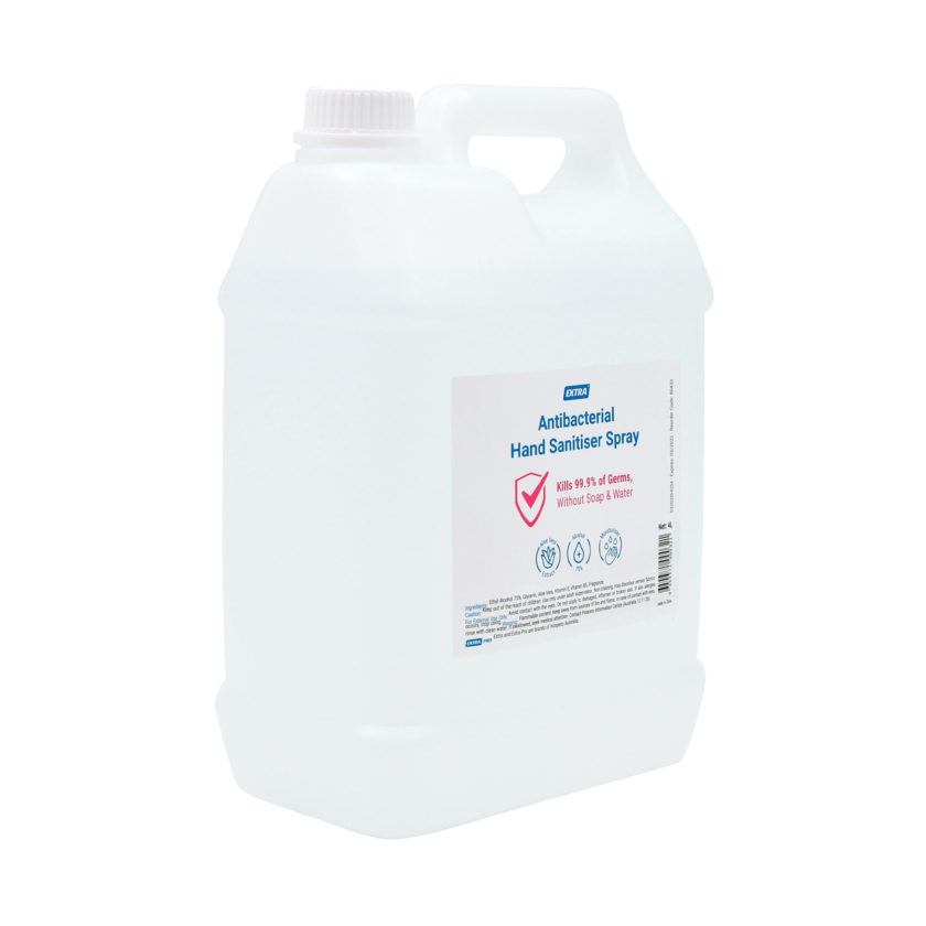 extra antibacterial hand sanitiser spray 4 litre angle