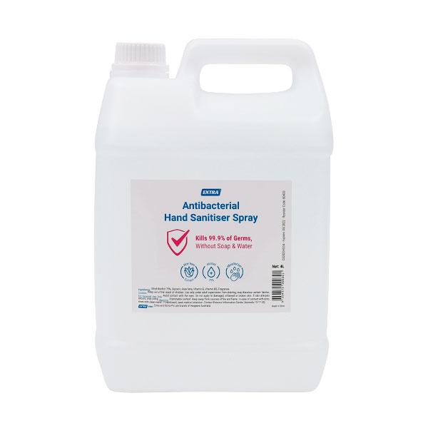 Extra Antibacterial Hand Sanitiser Spray Refill 4L front