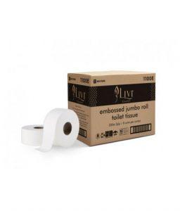 livi essentials embossed bathroom jumbo toilet paper 2 ply 300 m, 8 rolls 1100e box