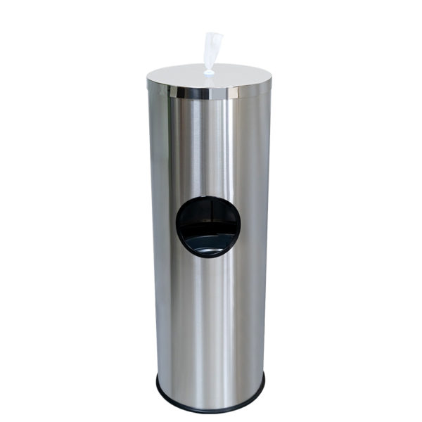 Wet Wipe Dispenser Floor-Stand Built-in Bin Stainless Steel