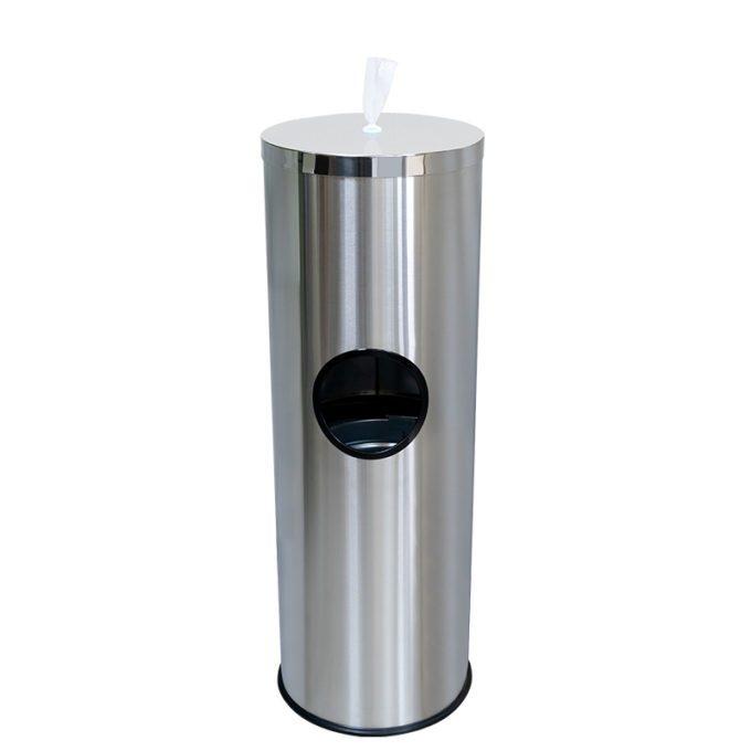 Wet Wipe Dispenser Floor-Stand Built-in Bin Stainless Steel