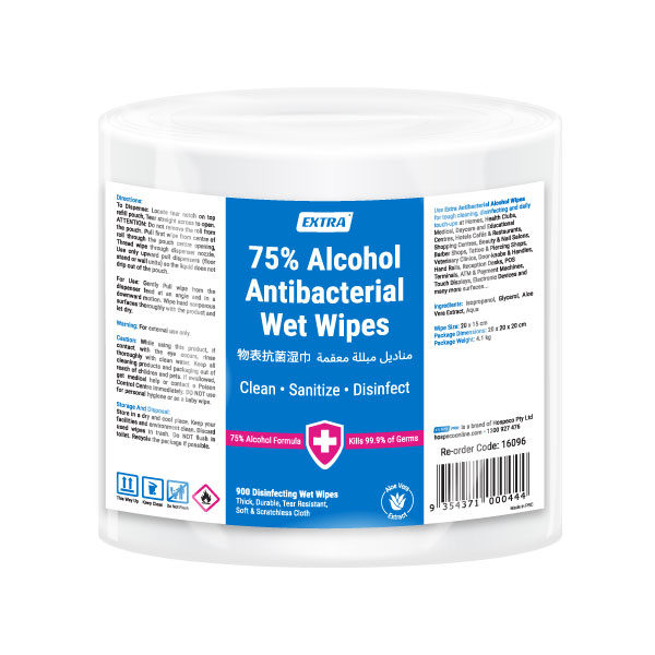 Extra 75 Alcohol Antibacterial Surface Roll Wipes 900 pack