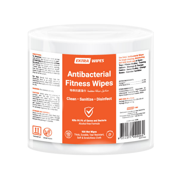 Extra Antibacterial Fitness Roll Wipe 900 pack