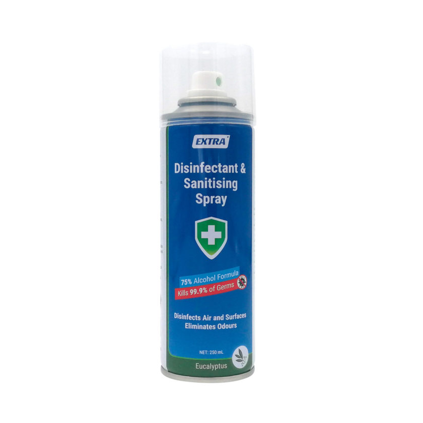 Extra Disinfectant Surface Sanitiser Spray 75 Alcohol Eucalyptus 250 mL front