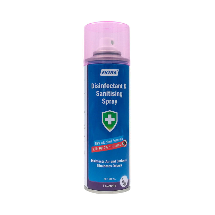 Extra Disinfectant Surface Sanitiser Spray 75 Alcohol Lavender 250 mL front