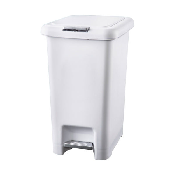 30 Litre White Bin Dual mechanism Pedal Push Button BB-30PPW