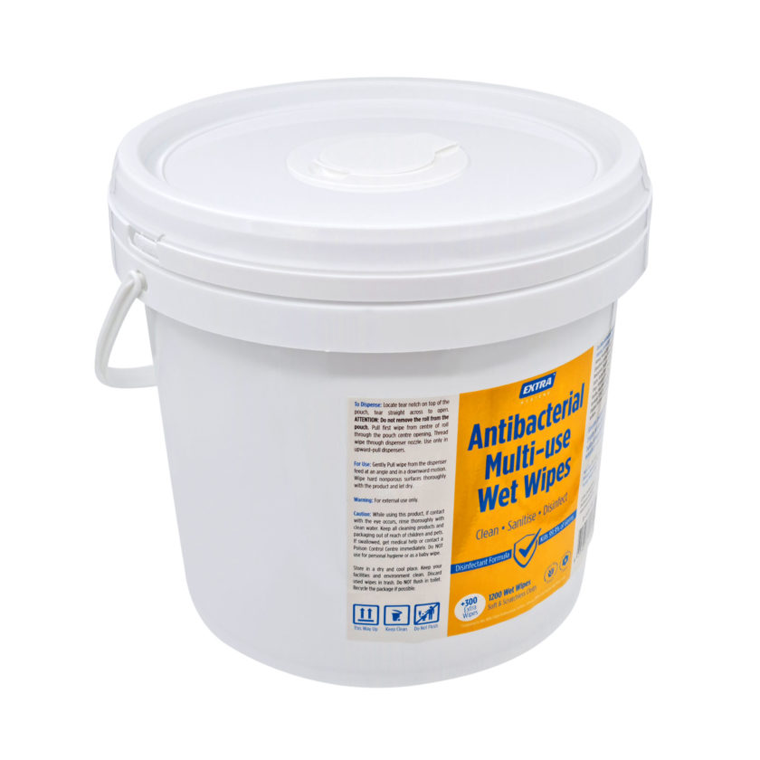 Extra Antibacterial Multi Use-Wet Wipes Roll 1200s Bucket angle