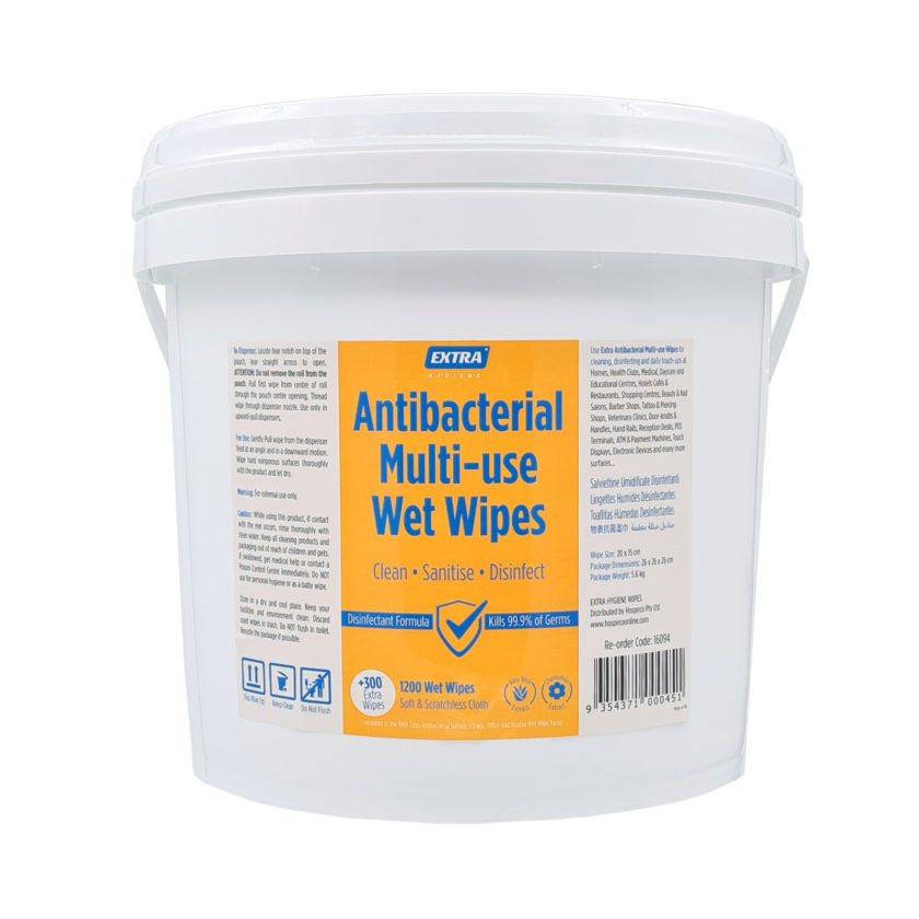 Extra Antibacterial Multi Use-Wet Wipes Roll 1200s Bucket Front