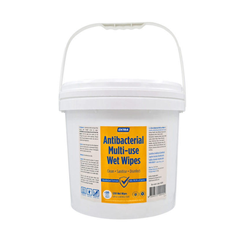 Extra Antibacterial Multi Use-Wet Wipes Roll 1200s Bucket front handle