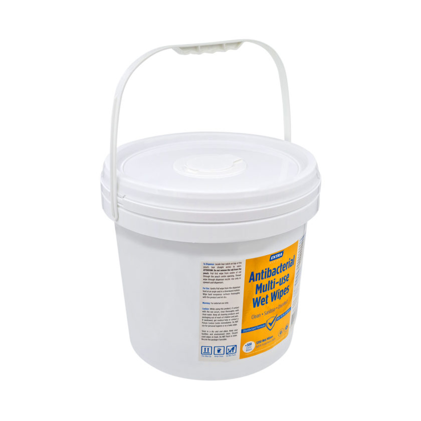 Extra Antibacterial Multi Use-Wet Wipes Roll 1200s Bucket angle handle